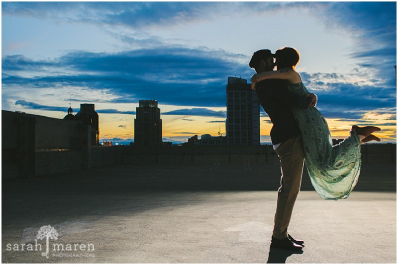 Cloudy Downtown Engagement Session by Sarah Maren Photography