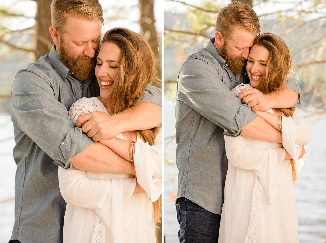 Marie & Jeff's Tahoe Engagement Session in the woods. Filled with love, laughs, smoke bombs and dance moves. Timeless, intimate and candid engagement portraits for happy people in love! More at http://sarahmaren.com
